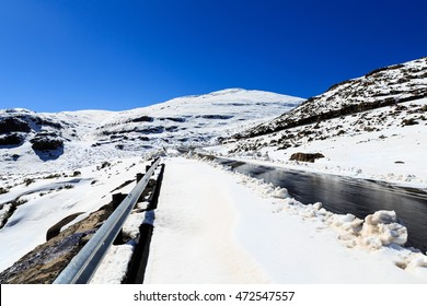 Lesotho mountain road in snow during winter , Lesotho