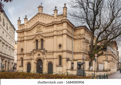 Kraków, Lesser Poland / Poland — 10.28.2017: View of the Tempel Synagogue (Polish: Synagoga Tempel) located on Miodowa Street in the district Kazimierz. Projected by Ignacy Hercok, built 1860-1862.