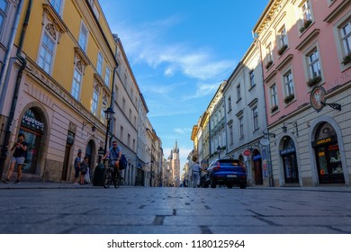Kraków, Lesser Poland / Poland - August 8 2018: Cracow, Floriańska Street in the early summer morning.