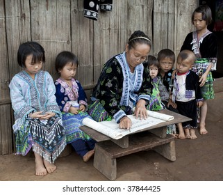 Lessons with children ethnic group Meo