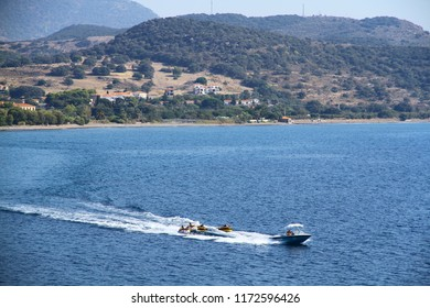 LESVOS, GREECE - 24 August 2018. Water sports activities are available in Molyvos beaches.