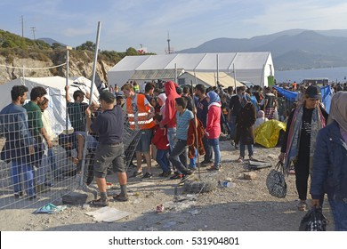 Lesvos, Greece- October 05, 2015. Refugee migrants, arrived on Lesvos in inflatable dinghy boats.