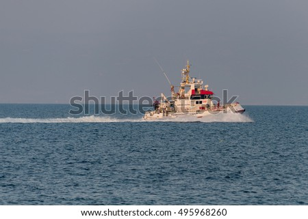 LESVOS, GREECE - OCTOBER 05, 2016. A Norwegian rescue ship, Peter Henry Von Koss, goes out on patrol in the Aegean Sea off the coast of Lesvos. Mytilene has been a hot spot for migrants from Turkey.