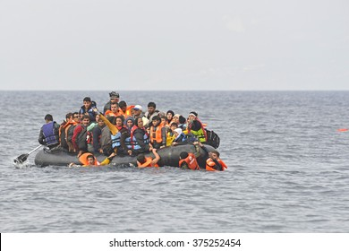 LESVOS, GREECE - October 12, 2015, 2015. Refugee migrants, arrived on Lesvos in inflatable dinghy boats, they stay in refugee camps waiting for the ferry to mainland Greece.