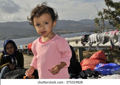 LESVOS, GREECE - October 12, 2015, 2015. Refugee migrants, arrived on Lesvos in inflatable dinghy boats, they stay in refugee camps.