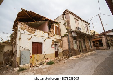 Lesvos, Greece on the 16th of April, 2018 -  Vrisa: The ghost village of Lesvos after earthquake strikes with 6.3R.