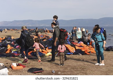 LESVOS, GREECE SEPTEMBER 24, 2015: A beach on Lesvos, Greece where many boats of refugees have arrived. Turkey, a short distance away, is seen in the background.