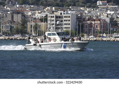 LESVOS, GREECE - SEPTEMBER 30, 2015. A Greek Coastguard ship having picked up refugees who have crossed from Turkey to Europe near Mytilene, Lesvos is now a hot spot for migrants crossing from Asia.