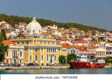 LESVOS ISLAND, GREECE - AUGUST 2017: Panoramic shot of Mytilene town in Lesvos island, Greece.  Mitilene is the capital and port of the island of Lesbos and the North Aegean Region.