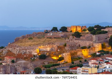 LESVOS ISLAND, GREECE - AUGUST 2017: Panoramic shot of the castle of Mytilene in Lesvos island, Greece in the afternoon, one of the largest castles in the Mediterranean