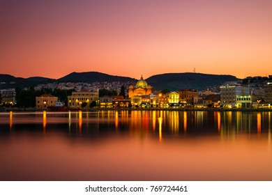 LESVOS ISLAND, GREECE - AUGUST 2017: Panoramic shot of Mytilene town in Lesvos island, Greece in the afternoon.  Mitilene is the capital and port of the island of Lesbos.