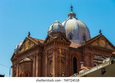 LESVOS ISLAND, GREECE - AUGUST 2017: St Therapontas cathedral temple architectural details in the morning, against a clear sky in Mytilene, Lesvos island, Greece
