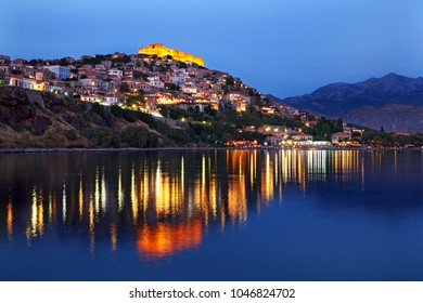 "LESVOS (or ""MYTILENE"") ISLAND, NORTH AEGEAN, GREECE. Night view of Molyvos town and its castle."