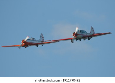 Leszno, Poland - 14.09.2019 - Glider Picnic 2019, Pair Yakovlev Yak-52, YAK-50, LY-AHZ, LY-ANP, Kauno Aeroklubas