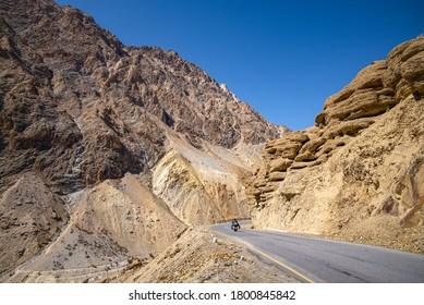 Let Kargil Hiway in Ladakh India with touring motor bike through steep mountains