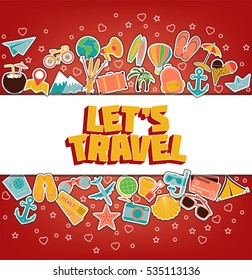 Let s Travel - Doodle Elements. Thin Line Icons. Illustration