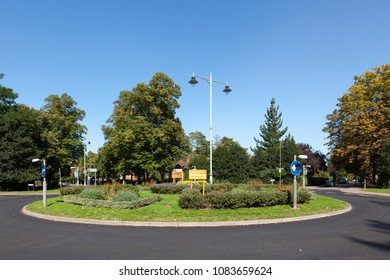 LETCHWORTH, UK - AUGUST 27, 2017: View of the first roundabout built in Britain, circa 1909, in Letchworth Garden City.