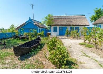 Letea, Danube Delta, Romania, August 2017: Traditional House in Delta Dunarii (Danube Delta) Romania