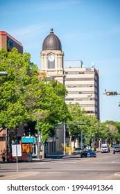 Lethbridge, Alberta - June 13, 2021: Businesses in the heart of Lethbridge's beautiful downtown.