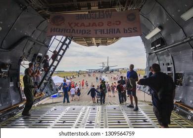 Lethbridge, Alberta/Canada - 07 25 2015: US Air Force Lockheed C-5 Galaxy transport aircraft at Lethbridge International Airshow