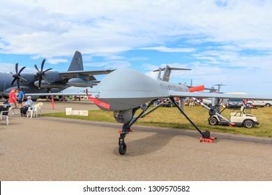 Lethbridge, Alberta/Canada - 07 25 2015: General Atomics MQ-1 Predator at Lethbridge International Airshow