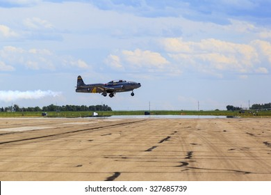 LETHBRIDGE CANADA 25 JUN 2015: International Air Show. A  Canadair T-33 Shooting Star flying  at the Canadian Wings Over North Lethbridge event.