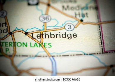 Lethbridge. Canada on a map.