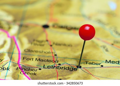 Lethbridge pinned on a map of Canada