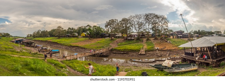 Letica, Colombia- Sep 14, 2018: Port in Letcia during the low water. Amazonia.