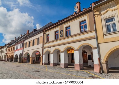 LETOHRAD, CZECHIA - APRIL 23, 2017: Traditional town houses with archways on Vaclavske namesti (Wenceslas Square) in Letohrad town, Czechia