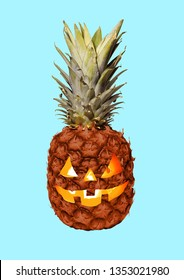 Lets go on halloween party. An alternative view of celebrating the most terrible autumns holidays. A pineapple as a pumpkin with the candles inside. Modern design. Contemporary art collage.
