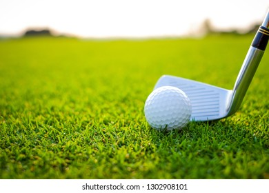 Let's golf!golf club and golf ball close up in grass