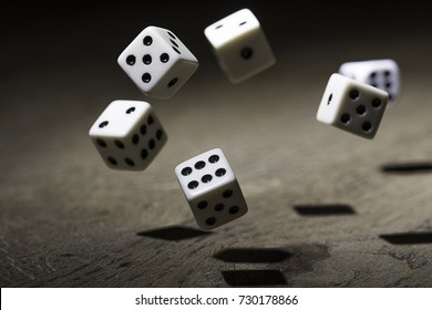 Let`s play a diced game. Dice in mid air