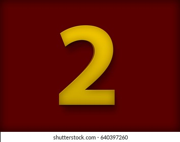 Letter 2 in Deep Yellow Color on Dark Red Background