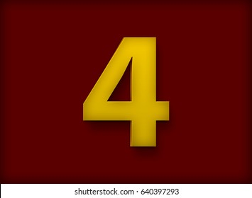 Letter 4 in Deep Yellow Color on Dark Red Background