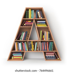 Letter A. Alphabet in the form of shelves with books isolated on white. 3d illustration