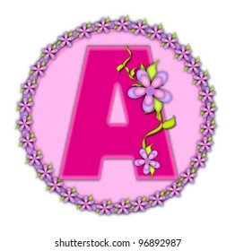 The letter A, in the alphabet set Daisy Chain, is soft pink.  Letter sits on round circle outlined with a circle of daisies.  Letters are also decorated with climbing vines and flowers.