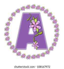 The letter A, in the alphabet set Petite Ring of Petals, is soft lilac and surrounded by a circle of daisies.  Climbing vines and flowers cling to lilac letter on a white background.