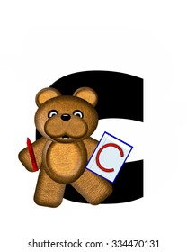 """The letter A, in the alphabet set """"Teddy Homework,"""" is black with white background.  Brown Teddy Bear decorates letter and is holding homework paper with matching alphabet letter."""