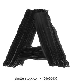 The letter A. Grunge ink alphabet, isolated on white background. Hand drawn with ink.