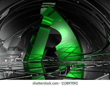 letter i in abstract futuristic space - 3d illustration