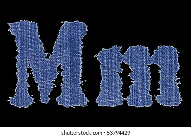 Letter of the alphabet made from a jeans fabric - M