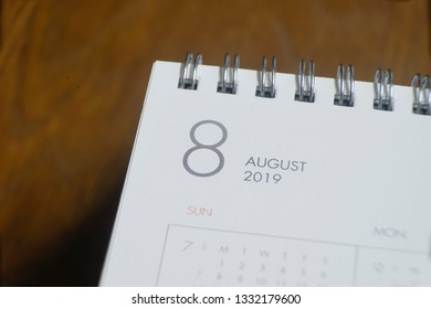 the letter august on the 2019 calendar on wooden background