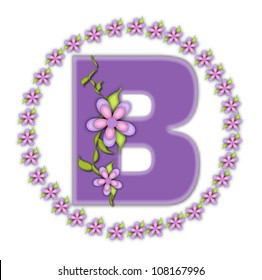 The letter B, in the alphabet set Petite Ring of Petals, is soft lilac and surrounded by a circle of daisies.  Climbing vines and flowers cling to lilac letter on a white background.