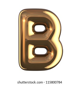 Letter B from gold round alphabet. There is a clipping path
