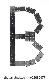 letter B made of  black  dominoes tiles isolated