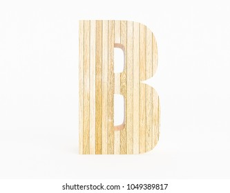Letter B made with wood on white background. 3d Rendering.