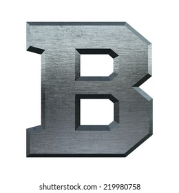 Letter B. Metal alphabet. Industrial metal font isolated on white.