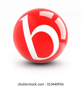 Letter b on a bright red balls with reflections isolated on white.