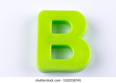 letter B uppercase alphabet isolated made of plastic on white background with shadows